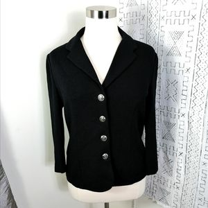 St. John Basics Black Cardigan Gold Button Front